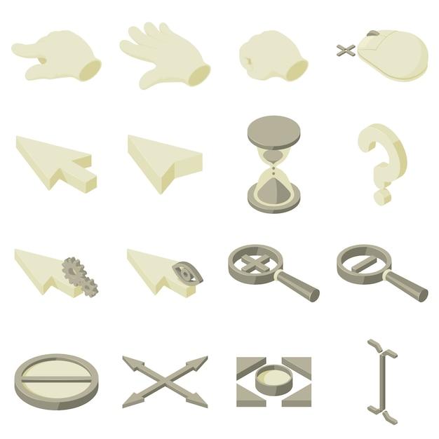 Установленные значки руки стрелки курсора. изометрическая иллюстрация 16 стрелок курсора рука векторные иконки для веб-сайтов Premium векторы
