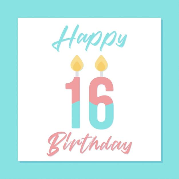 16th happy birthday banner design vector premium download