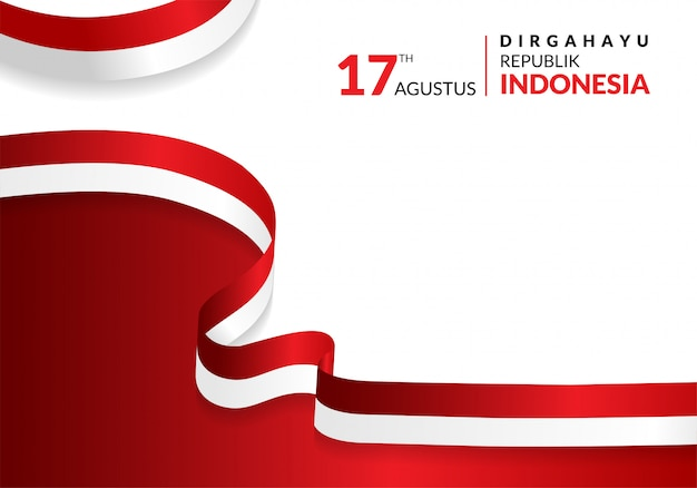 17 august. indonesia happy independence day greeting card Premium Vector