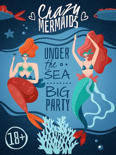 Сумасшедшие русалки 18 плюс плакат для вечеринки с 2 рыжеволосыми сексуальными существами из морской жизни Бесплатные векторы