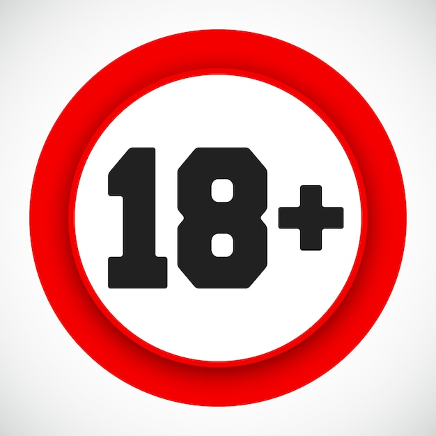 18 age restriction sign. prohibited under eighteen years red symbol. vector illustration. Premium Vector