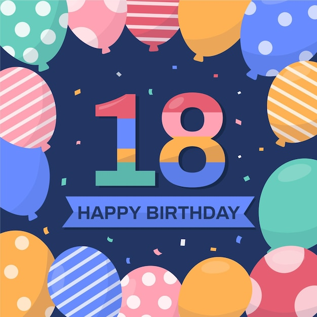 18th birthday background design Free Vector