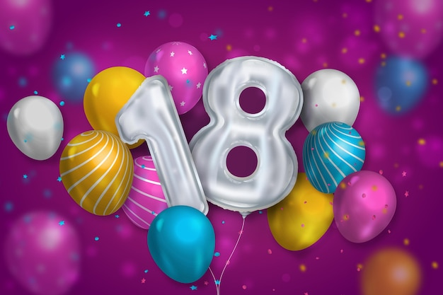 18th birthday background with realistic balloons Premium Vector