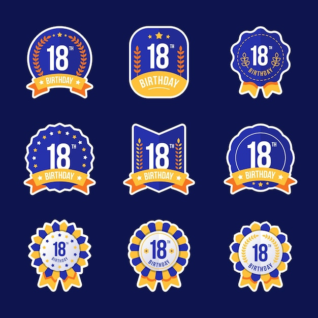 Значки 18-летия Бесплатные векторы