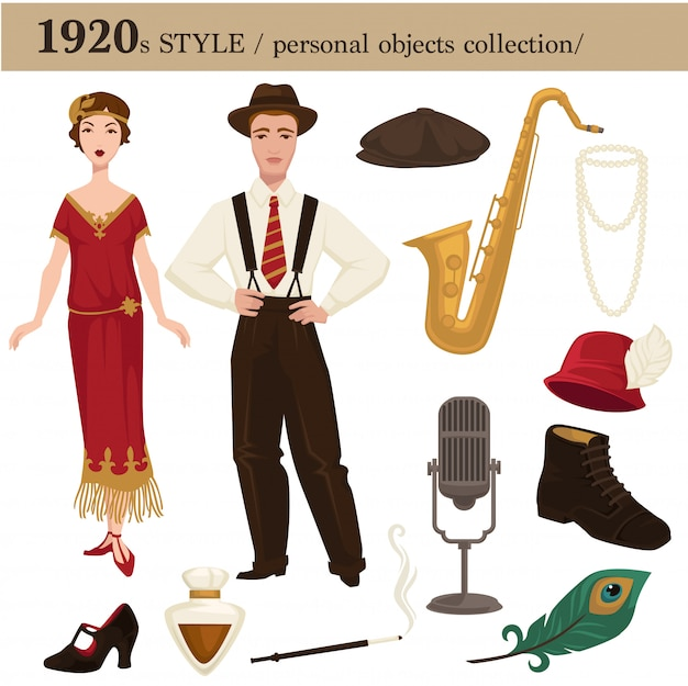 1920 fashion style man and woman personal objects Premium Vector