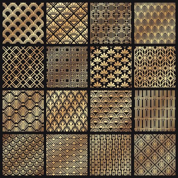 Арт-деко узоры. декоративные золотые линии, рамка с угловыми линиями и золотой узор 1920 года Premium векторы