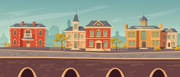 Городская улица 19-го века с европейскими постройками Бесплатные векторы