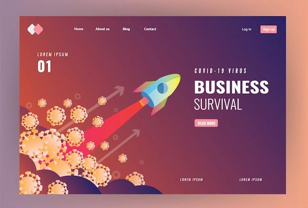 Идея целевой страницы сайта о победе над вирусом ковид-19 и концепцией выживания бизнеса. запуск ракеты над вирусом. плоский дизайн иллюстрация Premium векторы