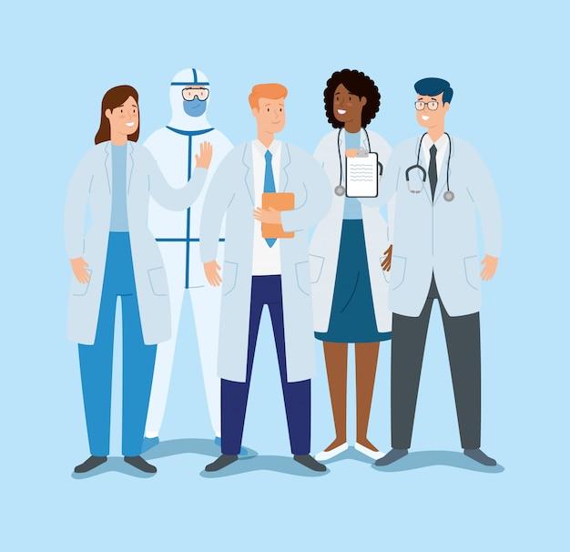 Группа врачей по уходу за ковидом 19 Бесплатные векторы