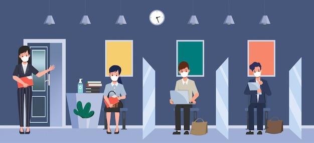 Раздел между людьми для защиты от ковид-19. наем на работу концепция нового нормального образа жизни. собеседование по работе с персоналом. Premium векторы