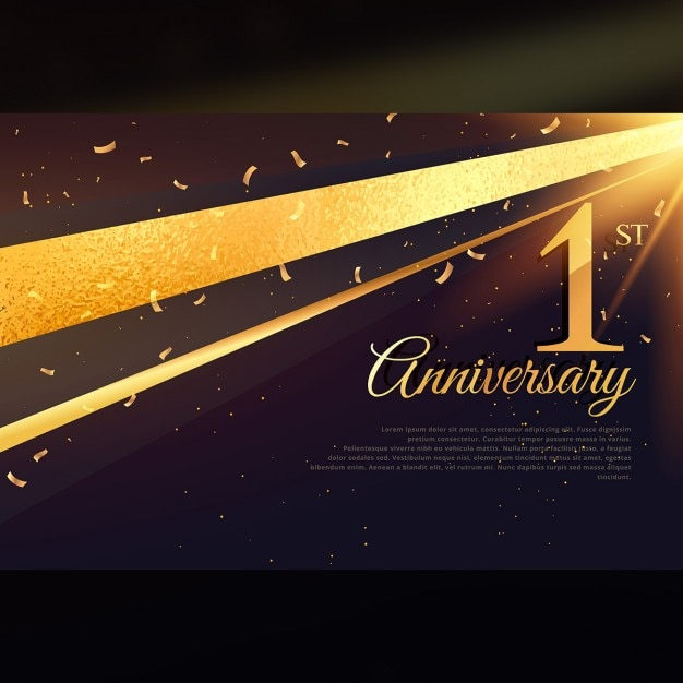 1周年のお祝いカードテンプレート 無料ベクター