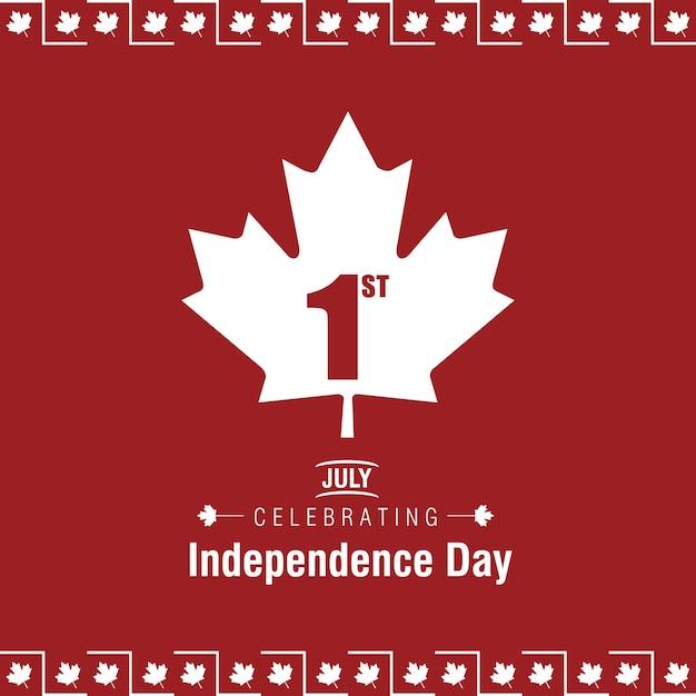 1 июля празднование дня канады канады флаг на красном фоне Бесплатные векторы