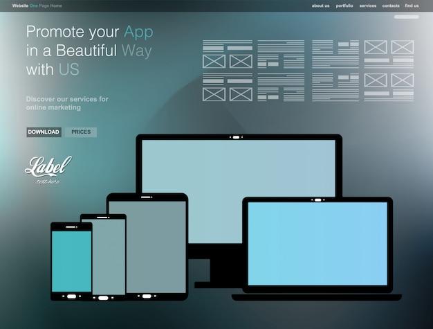 アプリショーケース用の1ページクリアモダンウェブサイトテンプレート Premiumベクター
