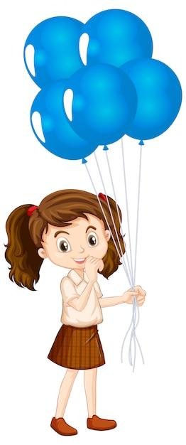 青い風船を持つ1つの幸せな女の子 無料ベクター
