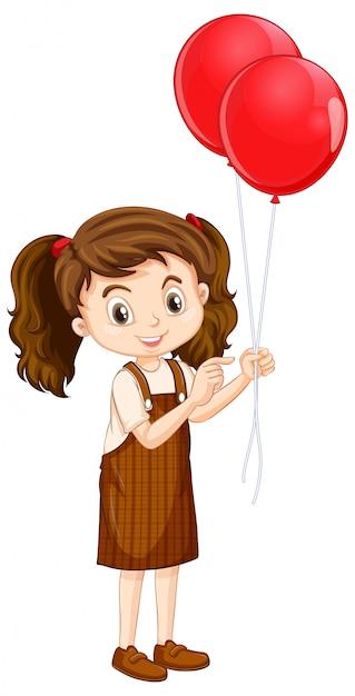赤い風船を持つ1つの幸せな女の子 無料ベクター