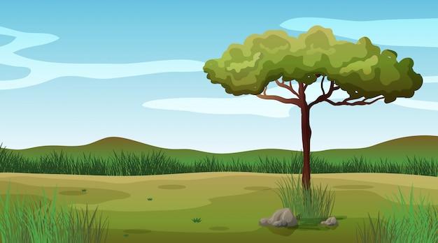 フィールドに1本の木がある背景シーン 無料ベクター