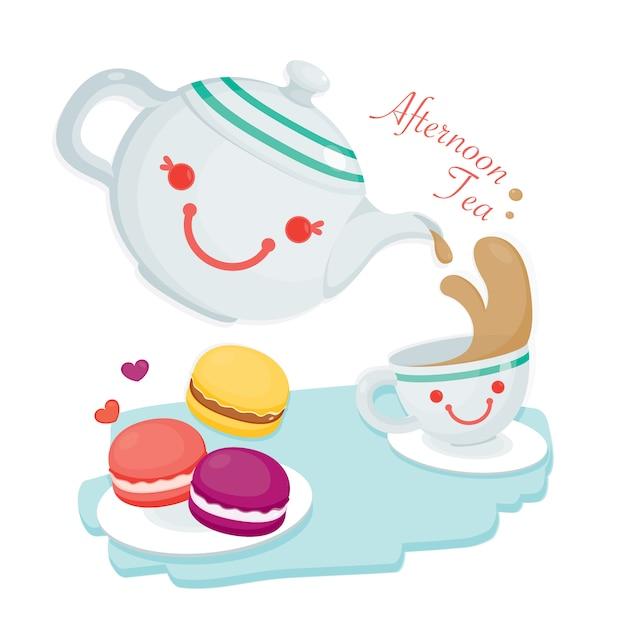 アフタヌーンティー。キュートなティーポットと紅茶1杯にかわいいマカロンがたくさん添えられています。 Premiumベクター