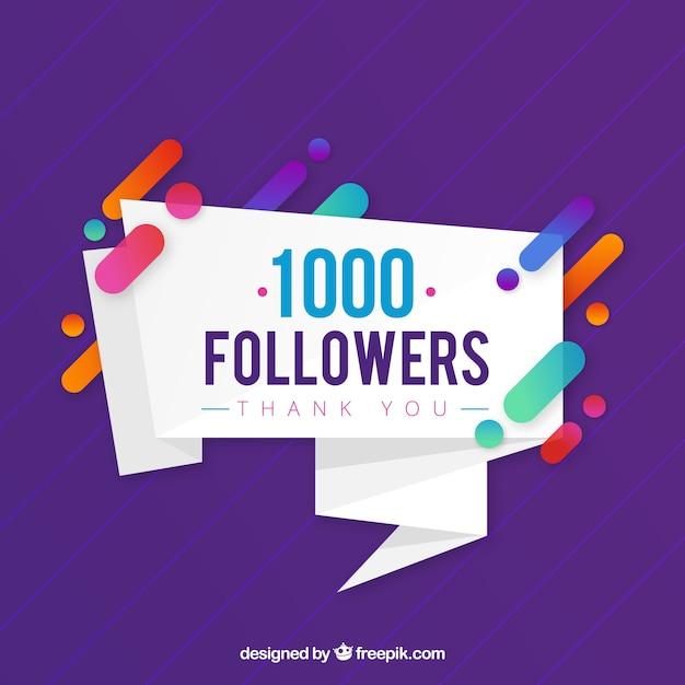 Фиолетовый фон из 1 тыс. последователей Бесплатные векторы