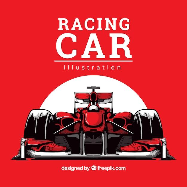 手描き式1レーシングカー 無料ベクター
