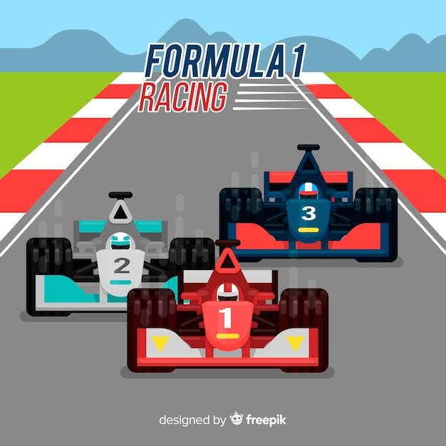 フォーミュラ1フラットデザインのレーシングカー 無料ベクター