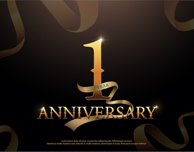1周年記念ロゴテンプレート Premiumベクター