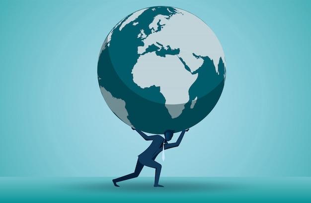 1人のビジネスマンのイラストは、頭の上に地球を持ち上げています Premiumベクター