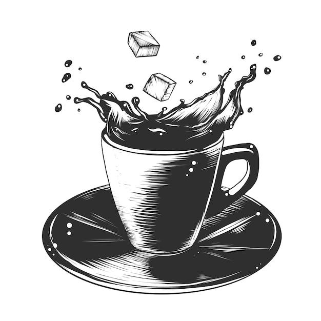 モノクロのコーヒー1杯の手描きのスケッチ Premiumベクター