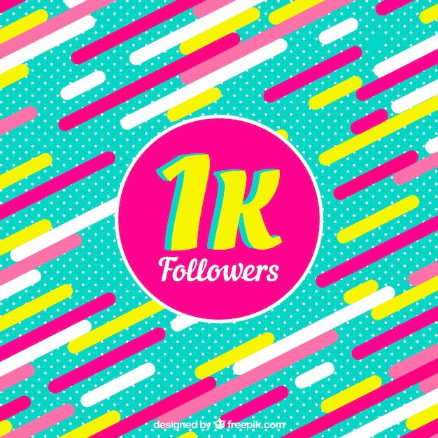 1k follower background with colorful shapes in flat design