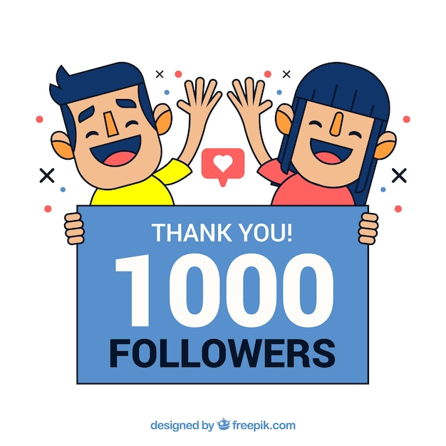 1k follower background with guys greeting Free Vector
