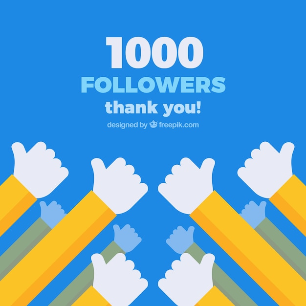 1k follower background with hands in flat design Free Vector