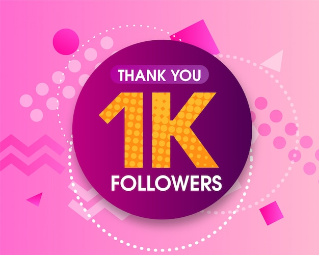 1k followers thank you Premium Vector