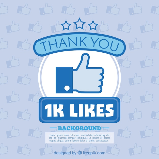 1k likes background Free Vector