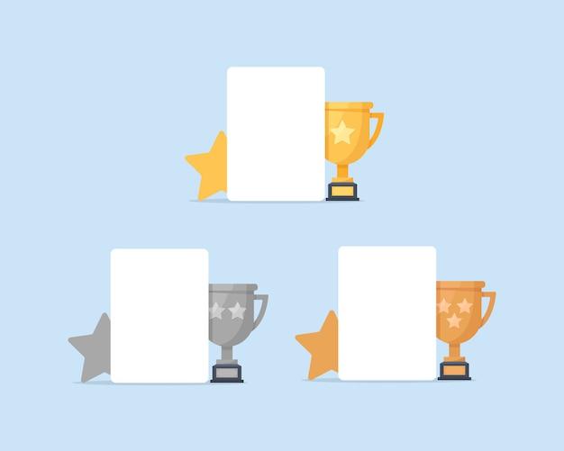 1位、2位、3位。ゴールド、シルバー、ブロンズ、トロフィー、フラットなデザインアイコン Premiumベクター