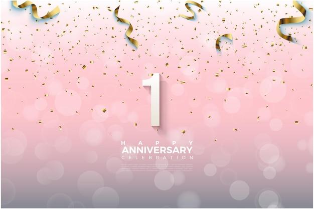 1-я годовщина с золотой лентой, падающей над числами. Premium векторы