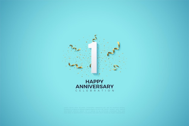 맑은 하늘색 배경에 숫자 그림 및 파티 축제와 1 주년. 프리미엄 벡터