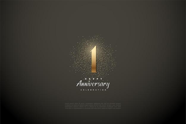 비 네트 회색 배경에 숫자와 금색 반짝이 1 주년. 프리미엄 벡터
