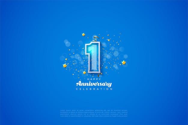 파란색 바탕에 굵은 흰색 테두리가있는 숫자와 숫자 앞에 보케 효과가있는 1 주년. 프리미엄 벡터