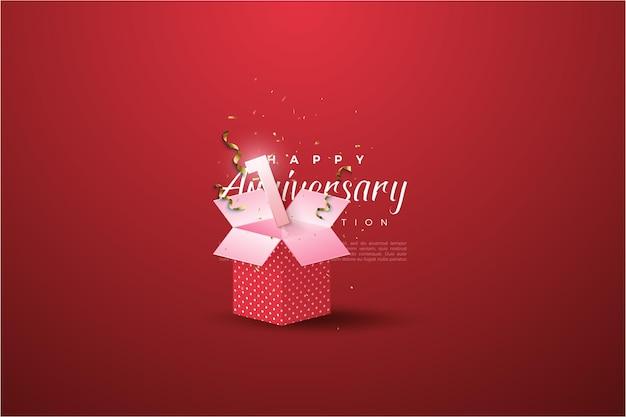 선물 상자에 숫자 일러스트와 함께 1 주년. 프리미엄 벡터