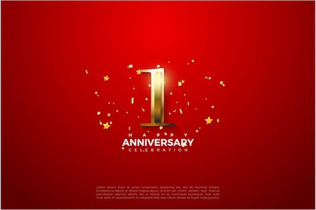 1-я годовщина с блестящей золотой иллюстрацией числа. Premium векторы
