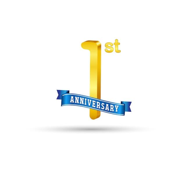 1-й золотой юбилей логотип с голубой лентой на белом фоне. 3d золотой логотип 1-й годовщины Premium векторы