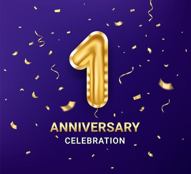 Шаблон оформления празднования годовщины 1-го года Premium векторы