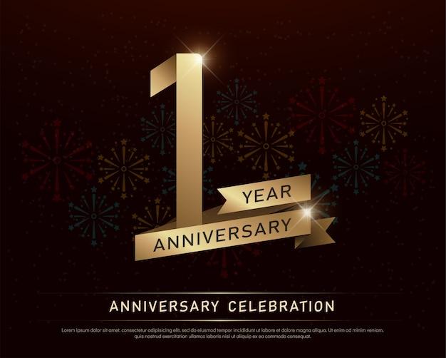 1st year anniversary celebration gold number Premium Vector