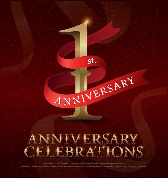 1st year anniversary celebration golden logo with red ribbon Premium Vector