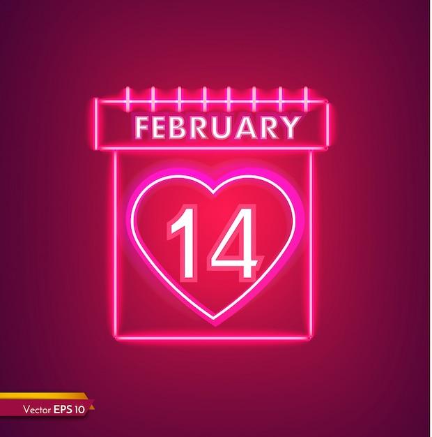 ネオンの2月14日カレンダー Premiumベクター