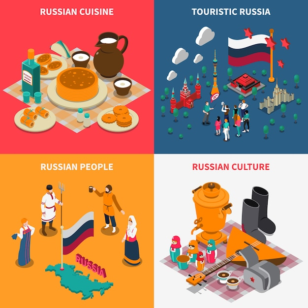 Набор русских изометрических туристических 2х2 иконок Бесплатные векторы