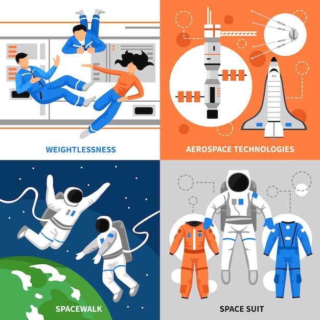 Концепция дизайна космонавтов 2х2 Бесплатные векторы