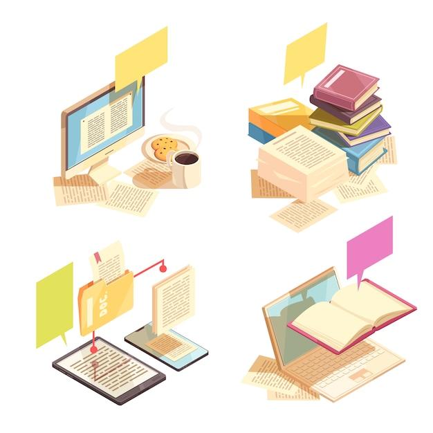 Концепция дизайна библиотеки 2х2 Бесплатные векторы