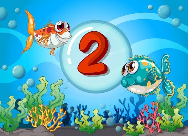 水中2魚とカード番号2 Premiumベクター
