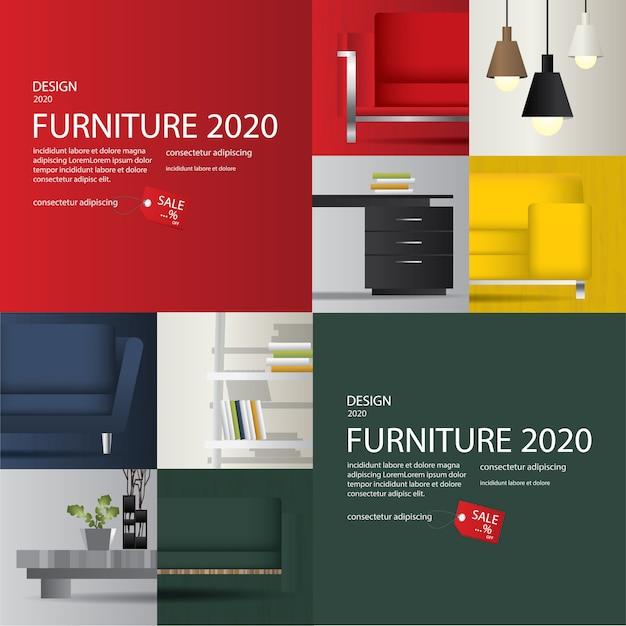 2 баннера продажа мебели реклама флаеры векторные иллюстрации Бесплатные векторы