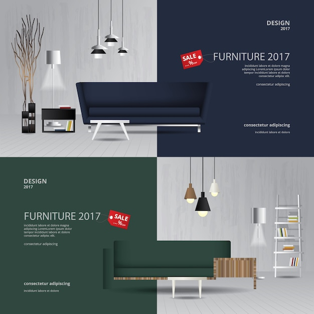 2 Banner Furniture Sale Design Template Vector Illustration Vector